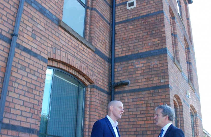 Pictures show Damian Hinds with Kieran Mullan outside the YMCA in Crewe.